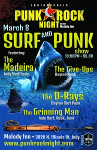 Surf and Punk Night! The Madeira, The Give-Ups, The D-Rays, Grinning Man @ The Melody Inn | Indianapolis | Indiana | United States