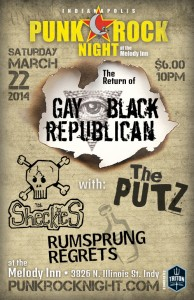 Gay Black Republican come back show with: The Sheckies, The Putz, Rumsprung Regrets @ The Melody Inn | Indianapolis | Indiana | United States