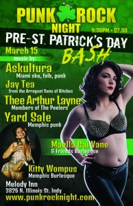 Pre-St. Pat's Party: MCV Burlesque, Askultura, Yard Sale, Jay Tea @ The Melody Inn | Indianapolis | Indiana | United States