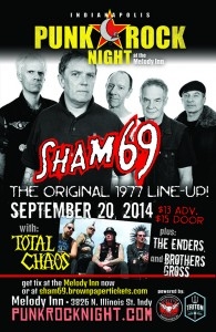 1977 British punk pioneers SHAM 69 and American punk legends TOTAL CHAOS with BroGro and Enders @ The Melody Inn | Indianapolis | Indiana | United States