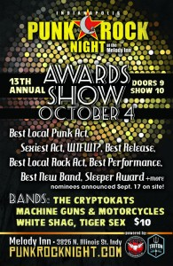 The Annual PRN Awards Show! CryptoKats, Machine Guns & Motorcycles, White Shag, Tiger Sex @ The Melody Inn | Indianapolis | Indiana | United States