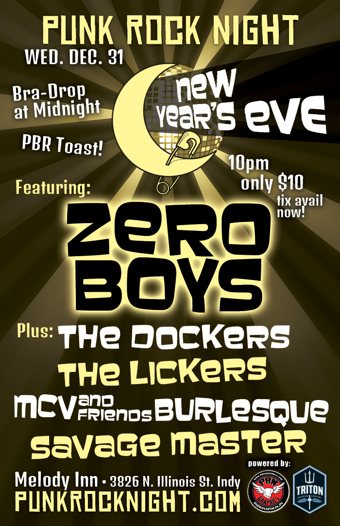 New Years Eve with Zero Boys, Dockers, Lickers, MCV Burlesque and Savage Master