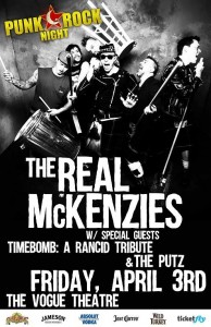 PRN at the Vogue: The Real McKenzies, Timebomb: A Rancid Tribute, The Putz @ The Vogue | Indianapolis | Indiana | United States
