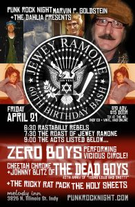 Jewey Ramone's 60th Birthday: Cheetah and Johnny of the Dead Boys, Zero Boys, Ricky Rat, Holy Sheets @ The Melody Inn | Indianapolis | Indiana | United States