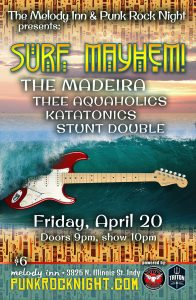 Friday surf punk show: The Madeira, Stunt Double, Katatonics, Aquaholics @ The Melody Inn | Indianapolis | Indiana | United States